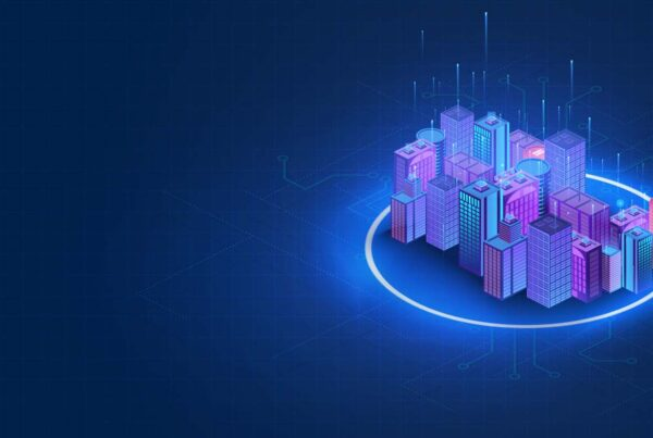 smart city glowing isometric illustration