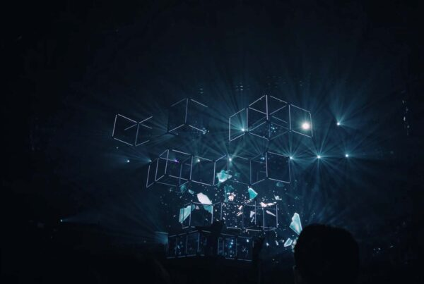 floating cubes with holographic background