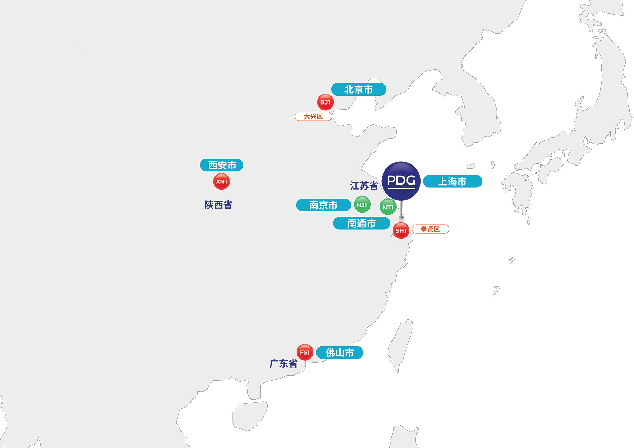 Map of China and PDG Presence