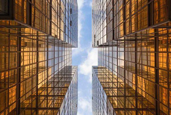 golden building skyscraper sky view